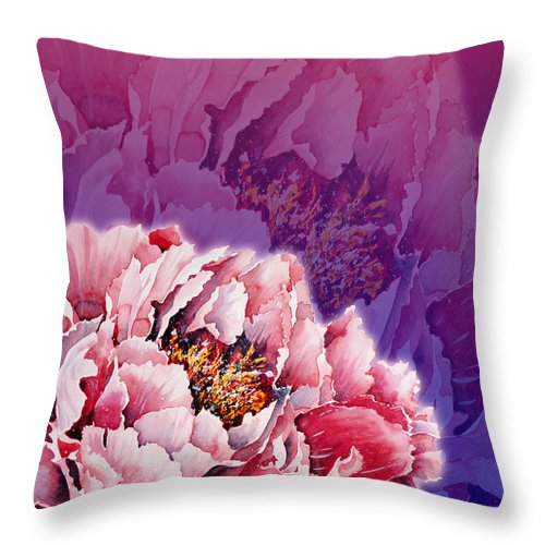 Peony Throw Pillow featuring the mixed media Peony by Zaira Dzhaubaeva