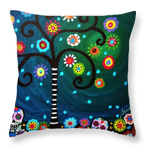 Day Of The Dead Throw Pillow featuring the painting Day Of The Dead by Pristine Cartera Turkus