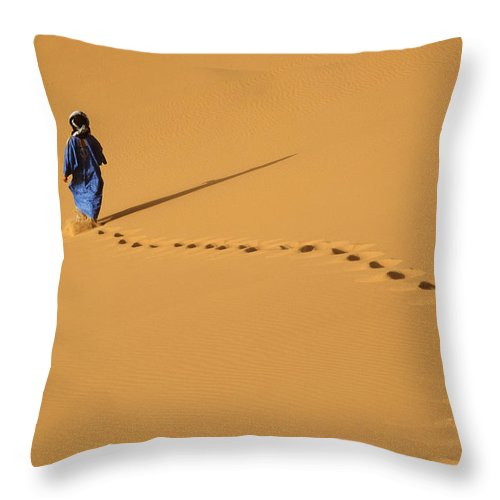 Young Adul Throw Pillow featuring the photograph Merzouga, Morocco by Axiom Photographic
