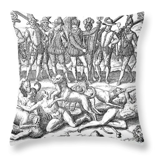 16th Century Throw Pillow featuring the photograph Vasco Nunez De Balboa by Granger