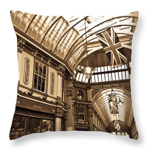 Leadenhall Market Throw Pillow featuring the photograph Leadenhall Market London by David Pyatt