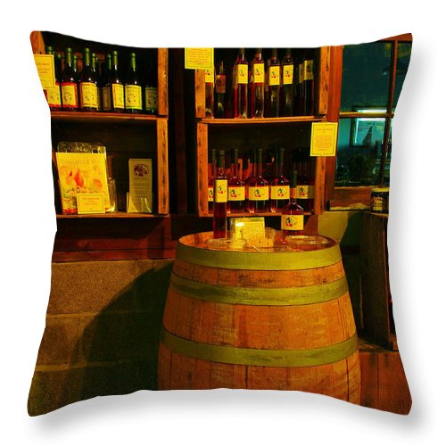 Still Life Throw Pillow featuring the photograph A Barrel And Wine by Jeff Swan