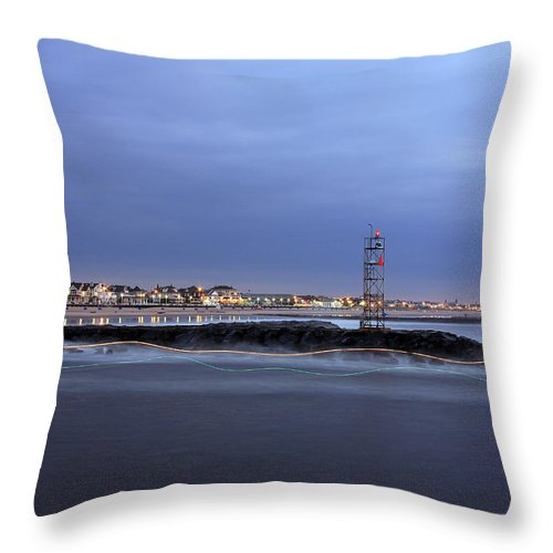 Light Trails Throw Pillow featuring the photograph a Boat's Path by Jeff Bord