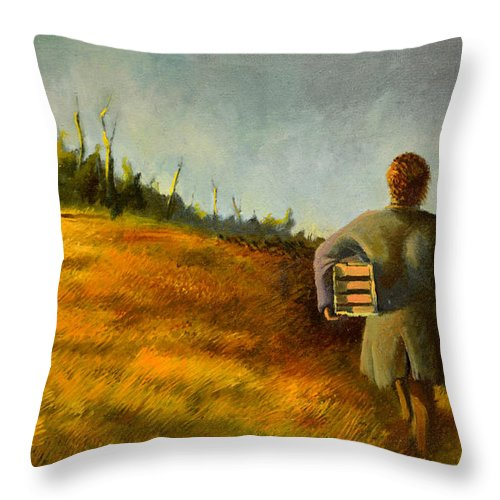 Box Throw Pillow featuring the painting A Box And Figure by Christopher Shellhammer