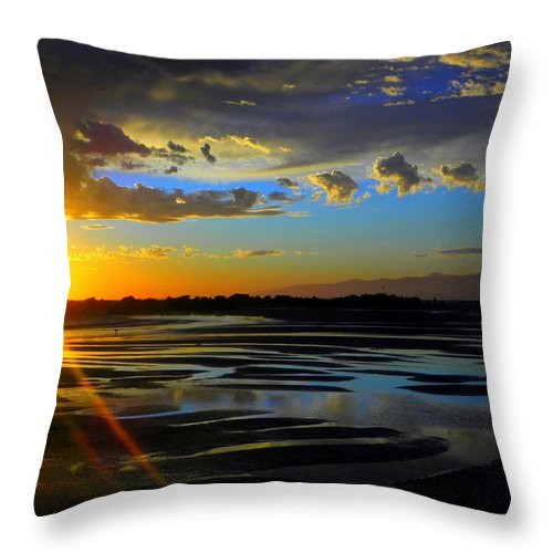 Sunset Throw Pillow featuring the photograph A Burst Of Sunset by Henry Murray