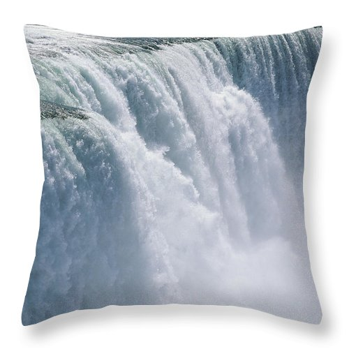 North America Throw Pillow featuring the photograph A Cascade Of Water Thunders by Skip Brown