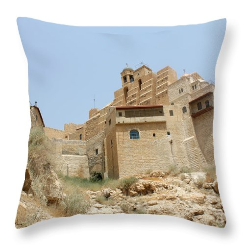 Orthodx Throw Pillow featuring the photograph A Church In The Desert by Munir Alawi