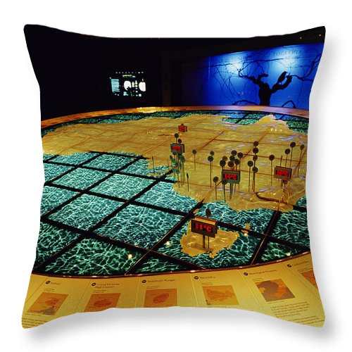 National Wine Center Throw Pillow featuring the photograph A Climate Diorama At The National Wine by Jason Edwards