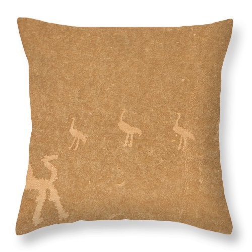 Wadi Rum Throw Pillow featuring the photograph A Close View Of Ancient Petroglyphs by Taylor S. Kennedy