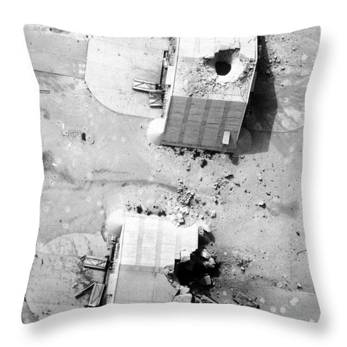 Vertical Throw Pillow featuring the photograph A Coalition Bombing Of Aircraft Hangers by Stocktrek Images