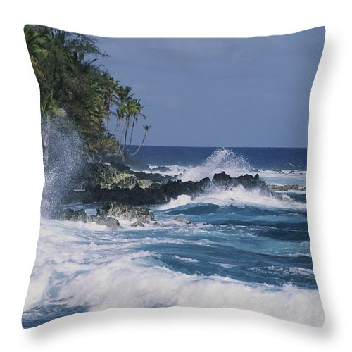 Pacific Islands Throw Pillow featuring the photograph A Coastal View Of The Southeast Corner by George F. Mobley