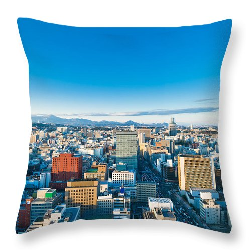 Aerial Throw Pillow featuring the photograph A Cold Sunny Day In Sendai Japan by U Schade