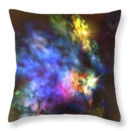 Stars Throw Pillow featuring the digital art A Colorful Nebula In The Universe by Corey Ford
