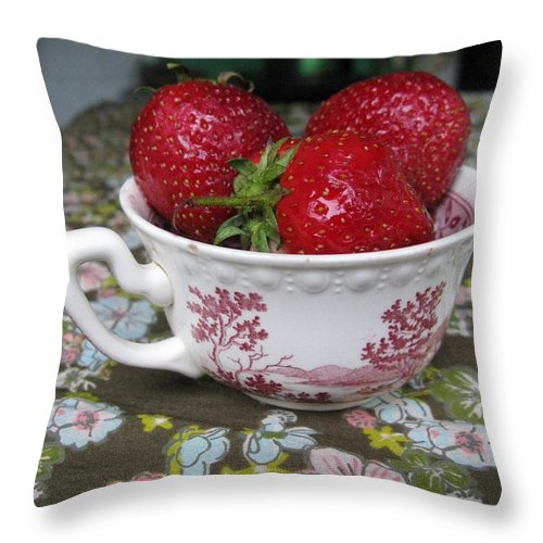 Garden Throw Pillow featuring the photograph A Cup Of Strawberries by Ausra Huntington nee Paulauskaite
