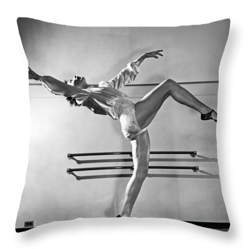 1930's Throw Pillow featuring the photograph A Dance Teacher Demonstrates by Underwood Archives