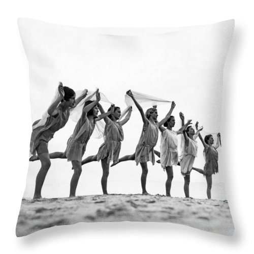 1035-11355 Throw Pillow featuring the photograph A Dance To The Morning Sun by Underwood Archives