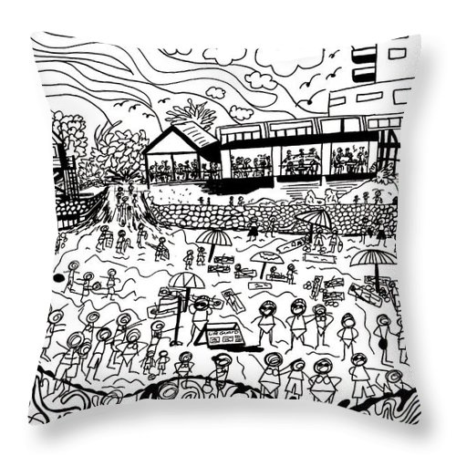 Ink Drawing Throw Pillow featuring the drawing A Day At The Beach by Karen Elzinga