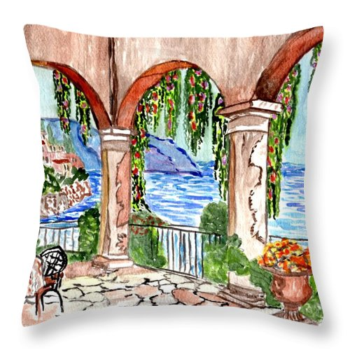 Relaxing Tuscany Painting Throw Pillow featuring the painting A Day To Relax by Connie Valasco