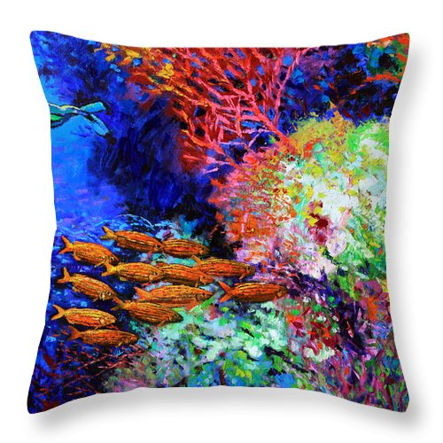 Scuba Diver Throw Pillow featuring the painting A Flash Of Life And Color by John Lautermilch