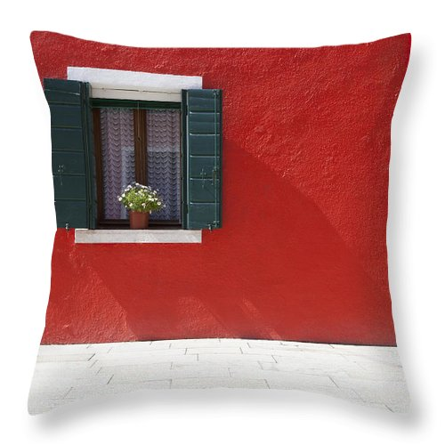 Building Throw Pillow featuring the photograph A Flower Pot Sits In A Window With by David DuChemin