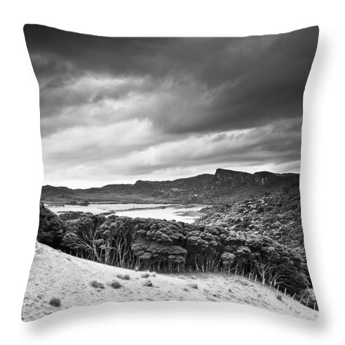 Cloud Throw Pillow featuring the photograph A Forest Area Along The Coast Under A by David DuChemin
