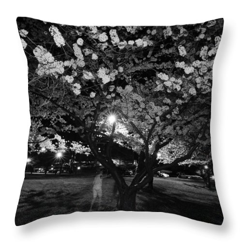 Ghost Throw Pillow featuring the photograph A Ghost In The Cherry Blossoms by Shirley Tinkham