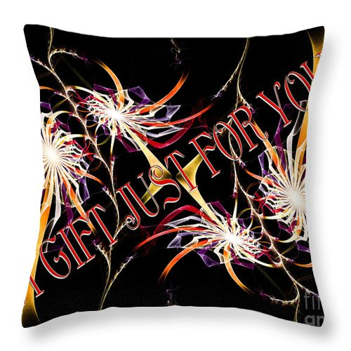 Fine Art Greeting Card Throw Pillow featuring the digital art A Gift For Just For You by Andee Design