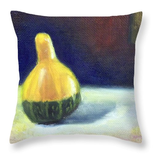 Still Life Throw Pillow featuring the painting A Gourd by Yoshiko Mishina