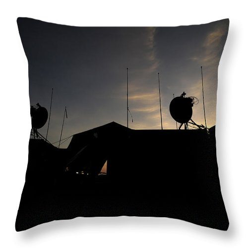 Military Throw Pillow featuring the photograph A Ground Control Station Which Operates by Stocktrek Images