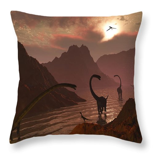 Horizontal Throw Pillow featuring the digital art A Herd Of Omeisaurus Dinosaurs by Mark Stevenson