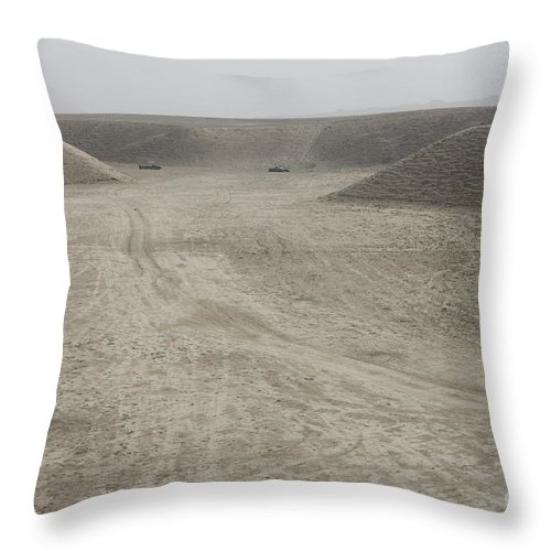 Afghanistan Throw Pillow featuring the photograph A Large Wadi Near Kunduz, Afghanistan by Terry Moore