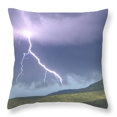 Photography Throw Pillow featuring the photograph A Lightning Bolt From A Thunderstorm by Robbie George