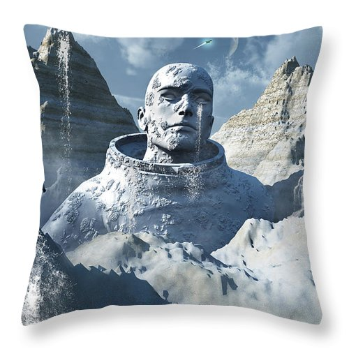 Horizontal Throw Pillow featuring the digital art A Lone Astronaut Stares At A Statue by Mark Stevenson