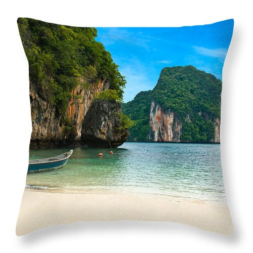 Andaman Throw Pillow featuring the photograph A Long Tail Boat By The Beach In Thailand by U Schade