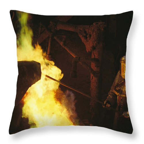 Subject Throw Pillow featuring the photograph A Man In Protective Gear Tends by Joel Sartore