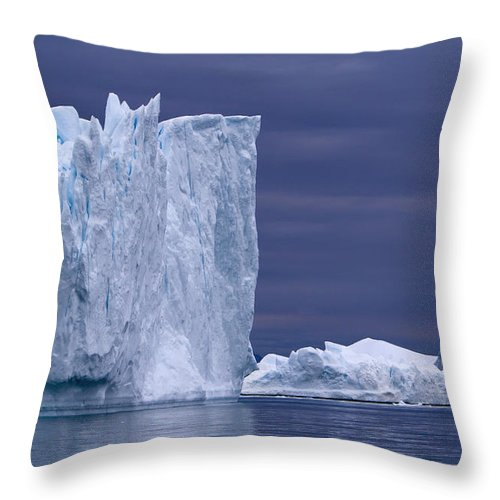 Unesco Throw Pillow featuring the photograph A Midnight Cruise Around The Ilulissat by Axiom Photographic