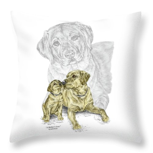Lab Throw Pillow featuring the drawing A Mothers Love - Labrador Dog Print Color Tinted by Kelli Swan