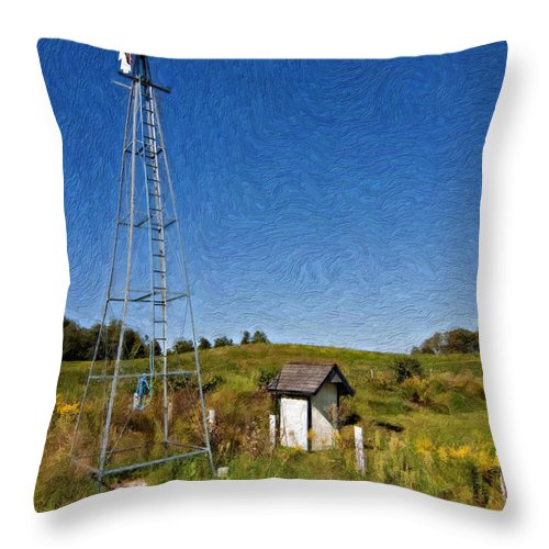 Grey Roots Museum & Archives Throw Pillow featuring the photograph A Moving Memory Impasto by Steve Harrington