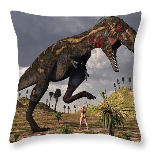Horizontal Throw Pillow featuring the digital art A Nano-tyrannosaurus Takes On Adam by Mark Stevenson