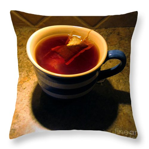 Cup Throw Pillow featuring the digital art A Nice Cup Of Tea by Dale  Ford