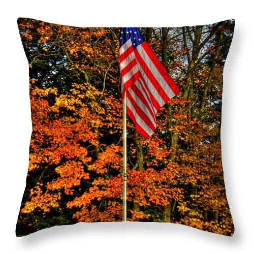 Autumn Throw Pillow featuring the photograph A Patriotic Autumn by David Patterson