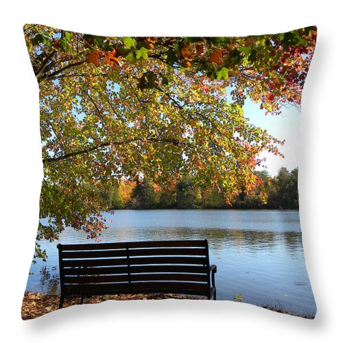Bench.seat Throw Pillow featuring the photograph A Place For Thanks Giving by Sandi OReilly