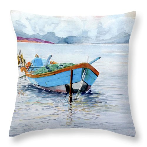 Watercolor Throw Pillow featuring the painting A Riva by Giovanni Marco Sassu