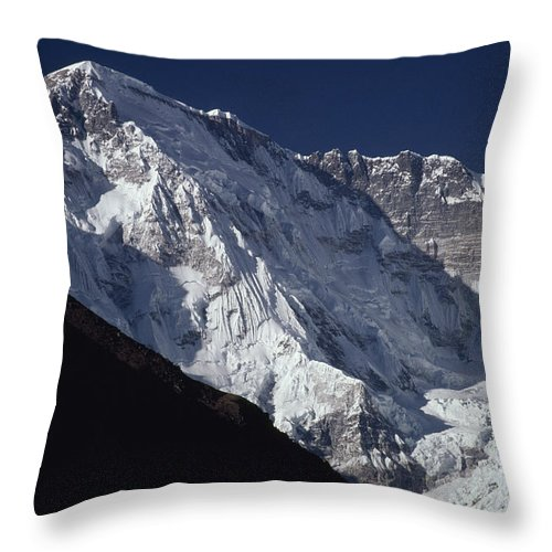 Color Image Throw Pillow featuring the photograph A Scenic View Of A Steep Icy by Gordon Wiltsie