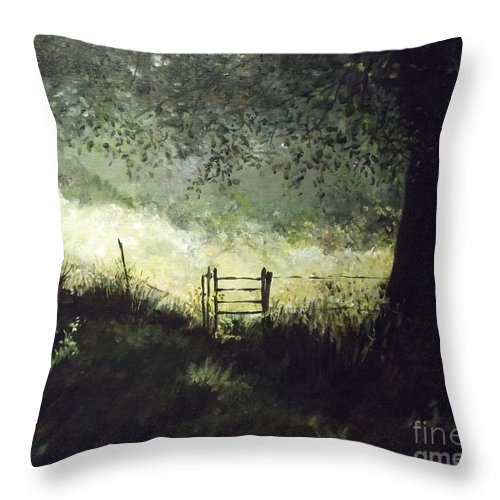 Landscape Throw Pillow featuring the painting A Shady Meadow by Lizzy Forrester