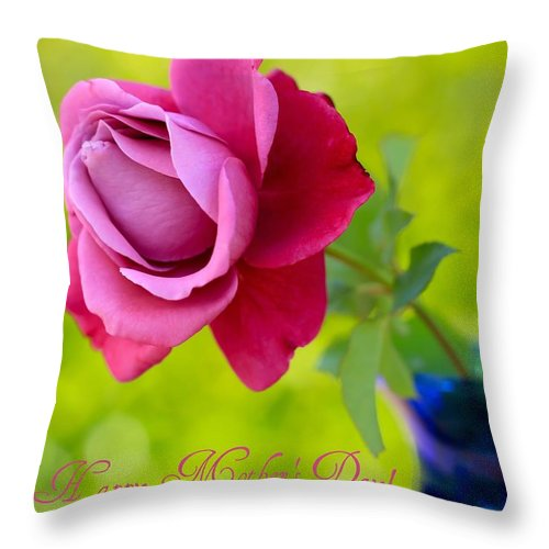 Mother's Day Card Throw Pillow featuring the photograph A Single Rose II Mother's Day Card by Heidi Smith