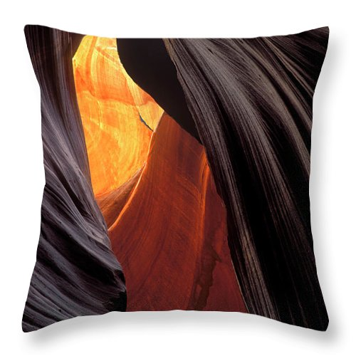 Lower Antelope Canyon Throw Pillow featuring the photograph A Slot Canyon View by Dave Mills