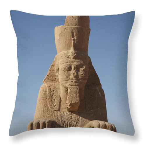 Africa Throw Pillow featuring the photograph A Sphinx Sits In The Sun Slowly Eroding by Taylor S. Kennedy