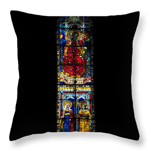 Architecture Throw Pillow featuring the photograph A Stained Glass Window Lit By The Day by Heather Perry