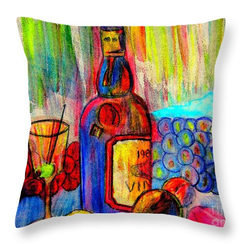 Wine Throw Pillow featuring the painting A Still Life by Susan Carella